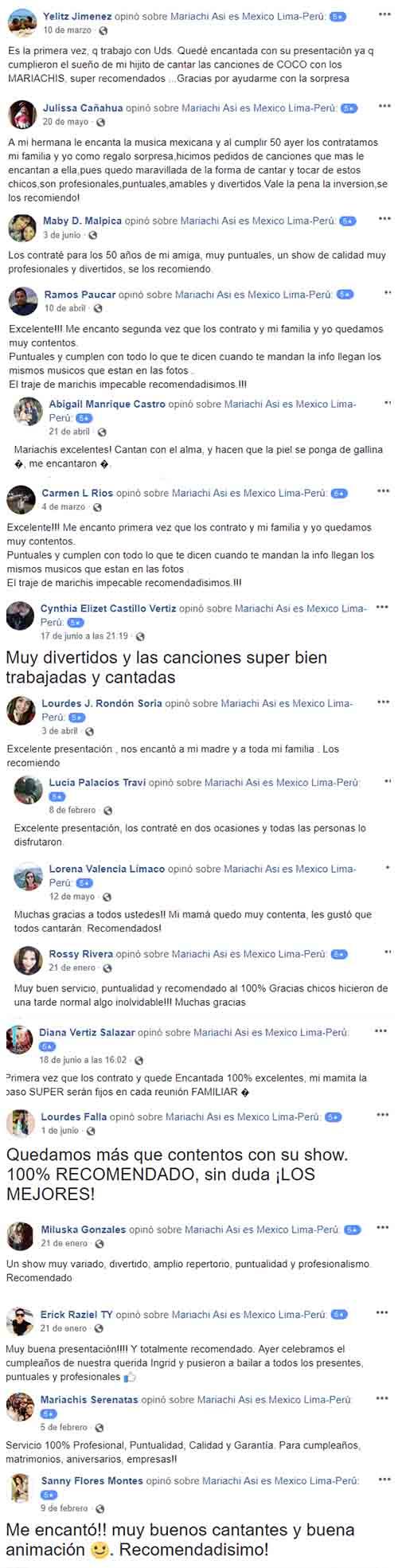 Lo que Opinan Nuestros Clientes de Mariachis Así es México 2018